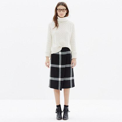 Wrap Midi Skirt in Plaid
