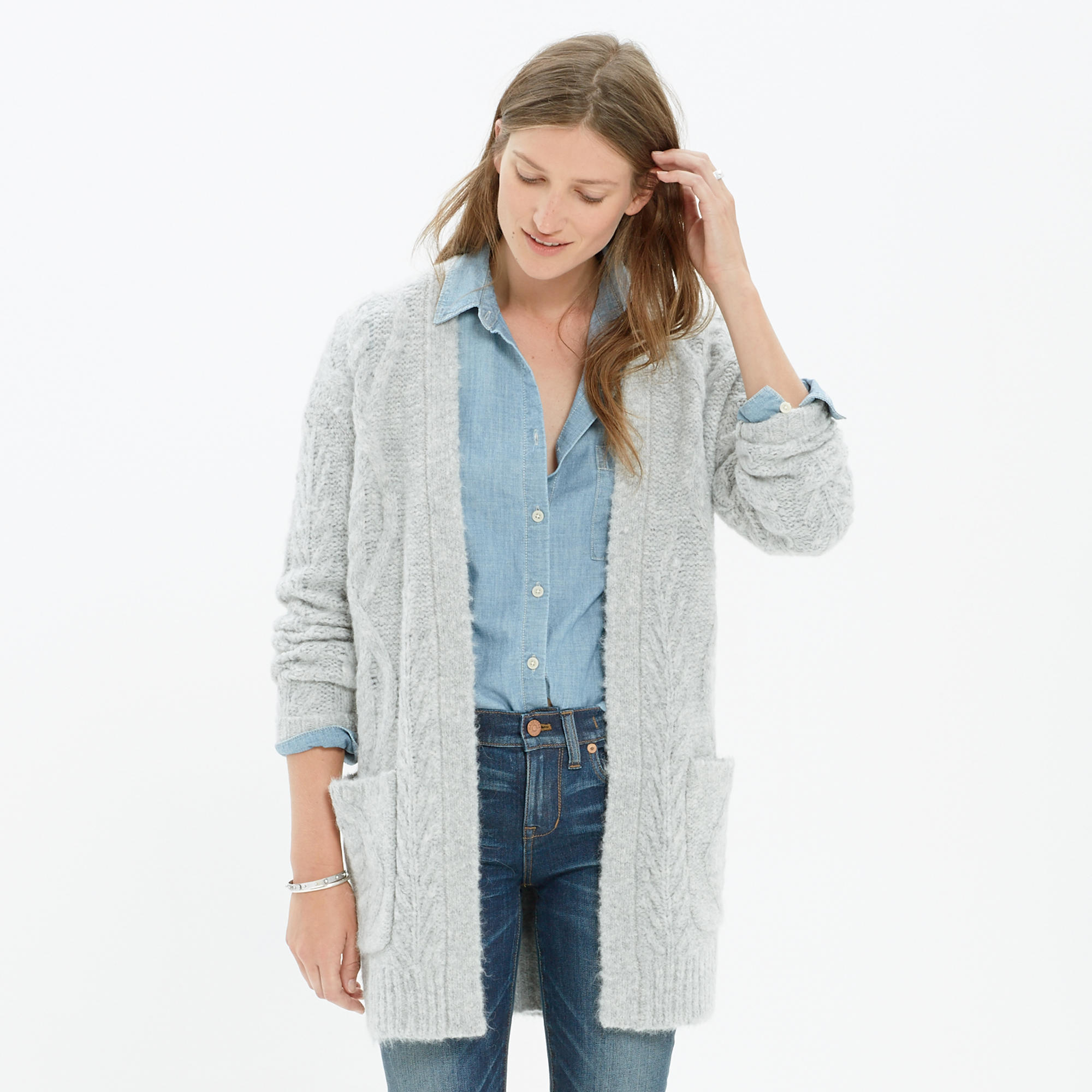 Oversized Cableknit Cardigan : cardigans & sweater-jackets | Madewell