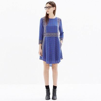 Silk Tee Dress in Ascot Grid