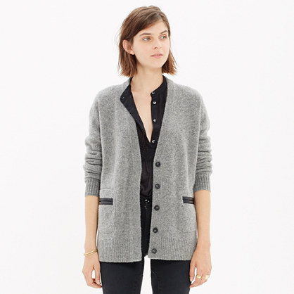 Leather-Edged Favorite Cardigan