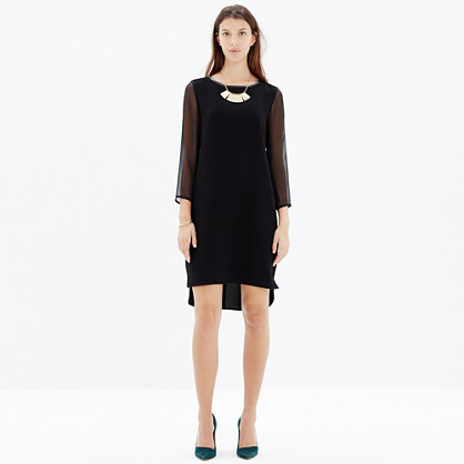 Sheer-Sleeve Dress
