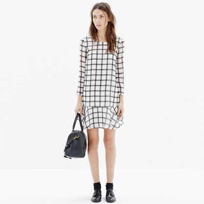 Silk Ruffle-Hem Dress in Paint Plaid