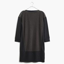 Shoulder-Zip Sweatshirt Dress - HTHR COFFEE BEAN
