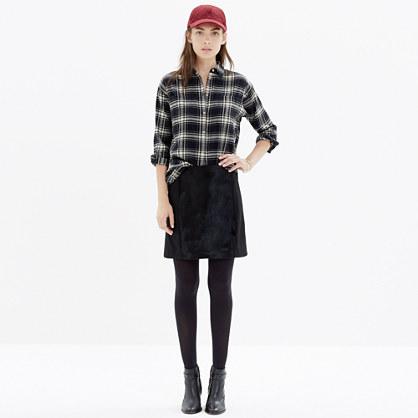 Calf-Hair Panel Miniskirt