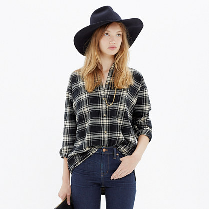Flannel Trapeze Shirt in Overcast Plaid