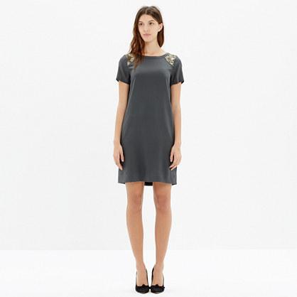 Silk Sequin-Yoke Dress