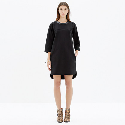 Leather-Trim Piqué Ponte Dress