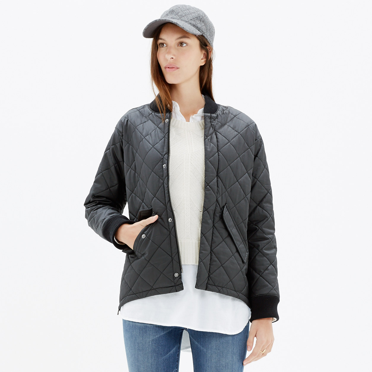 Quilted Session Bomber Jacket : jackets | Madewell