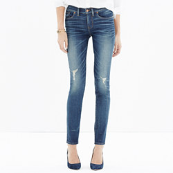"""8"""" Skinny Jeans in Belmont Wash: Knee-Rip Edition"""