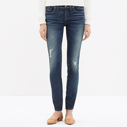 "8"" Skinny Jeans in Belmont Wash: Knee-Rip Edition"