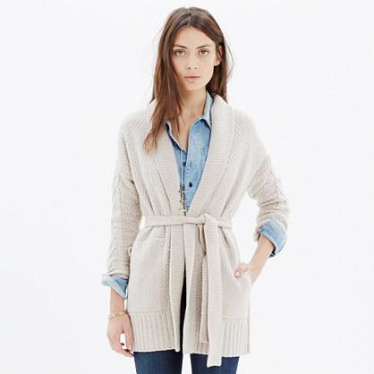Shawl-Collar Wrap Cardigan Sweater