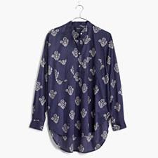 Collarless Popover Shirt in Flowerstamp - DARK MIDNIGHT