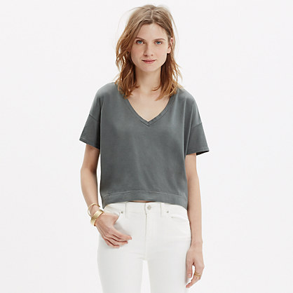 Luster Cotton V-Neck Crop Tee