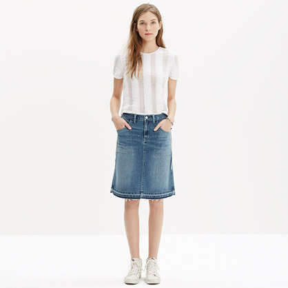 Raw-Edged Jean Skirt : mini | Madewell