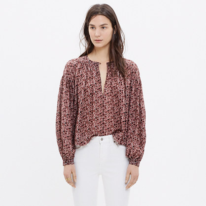 Stitched Peasant Top in Plum Floral