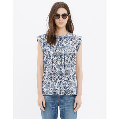 Silk Garden Top in Porcelain Floral