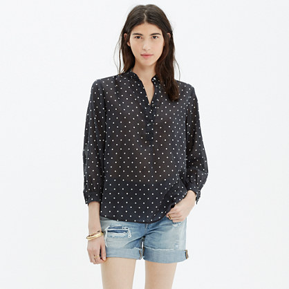 Shirred Popover Shirt in Dot