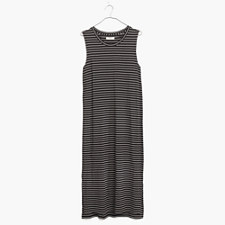 Sleeveless Tee Dress in Stripe - TRUE BLACK