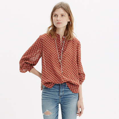 Shirred Popover Shirt in Shadowtree
