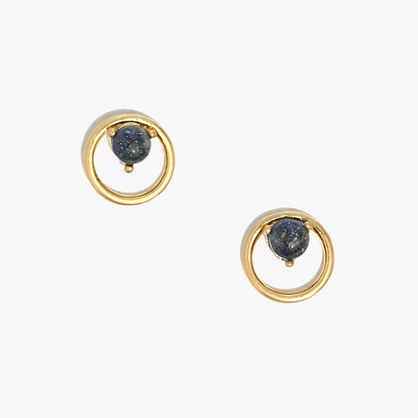 Lapis Circle Stud Earrings