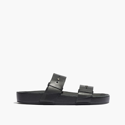 The Ariane Slide Sandal in Black Leather