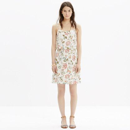Silk Overlay Cami Mini Dress in Botanical Print