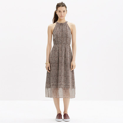 Silk Midi Dress in Diamond Tile