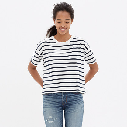 Crop Tee in Boating Stripe