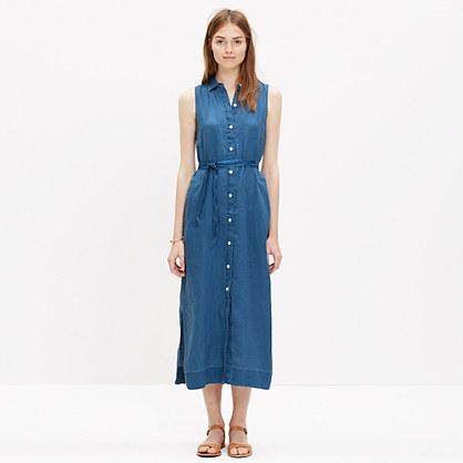 Linen Maxi Shirtdress in Dark Chambray