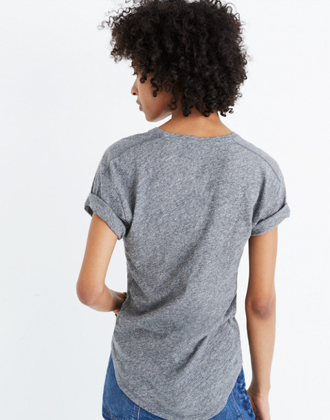 Whisper Cotton Crewneck Tee in hthr mercury image 3