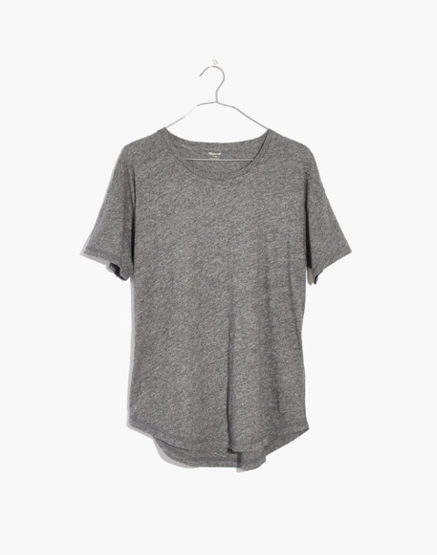 Whisper Cotton Crewneck Tee in hthr mercury image 4