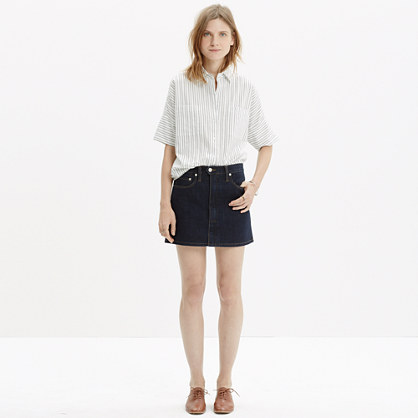 Denim Zip Skirt in Raw Wash : mini | Madewell