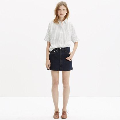 Denim Zip Skirt in Raw Wash