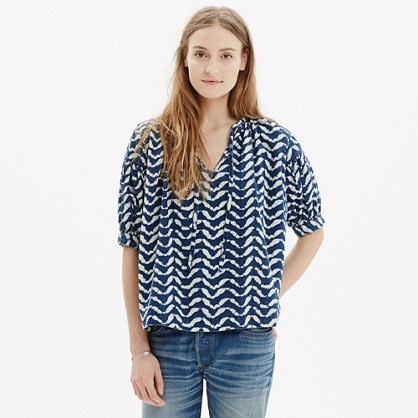 Tie-Neck Peasant Top in Batik Wave