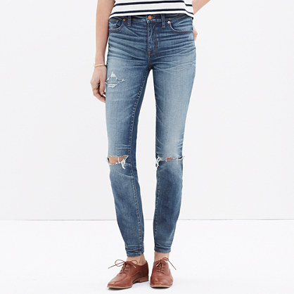 "9"" High-Rise Skinny Jeans: Torn-Knee Edition"