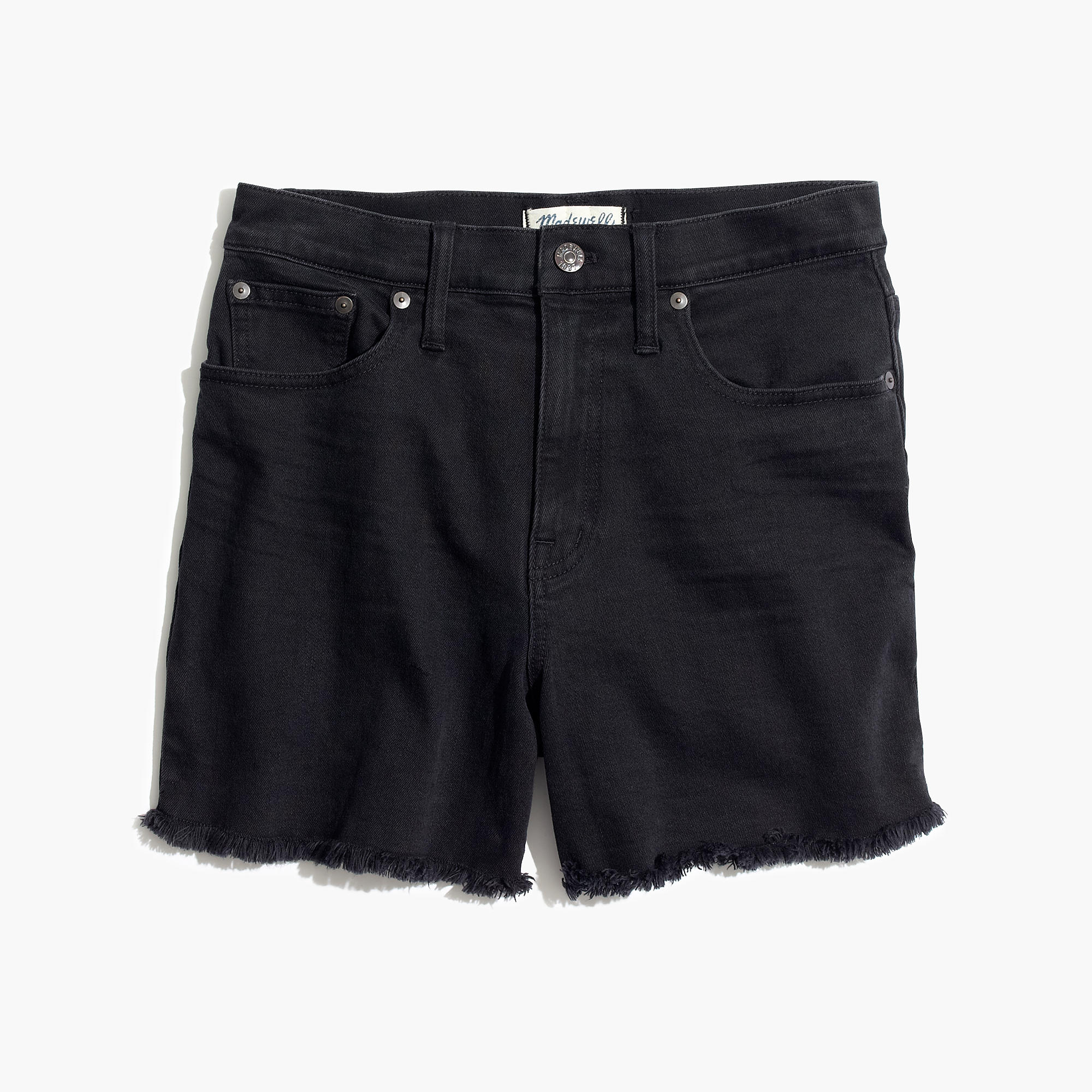 High-Rise Denim Shorts in Washed Black : shorts | Madewell