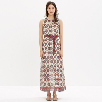 Shirred Maxi Dress in Medallion Stamp : waist defined dresses ...