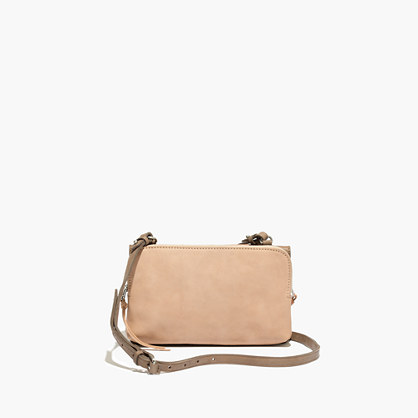 The Twin-Pouch Crossbody in Colorblock Washed Leather