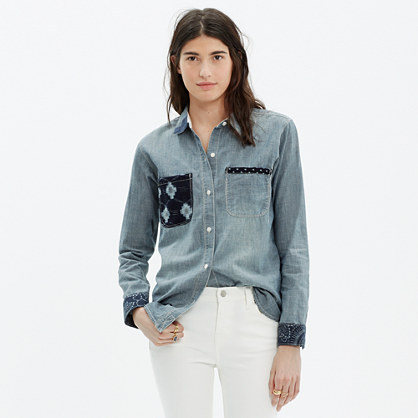 Madewell & Kiriko™ Patched Chambray Shirt