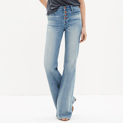 Flea Market Flare Jeans: Button-Front Edition