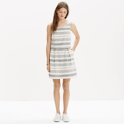 Striped Open-Back Overlay Dress