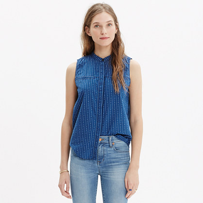 Cotton Sleeveless Shirt in Indigo Stripe