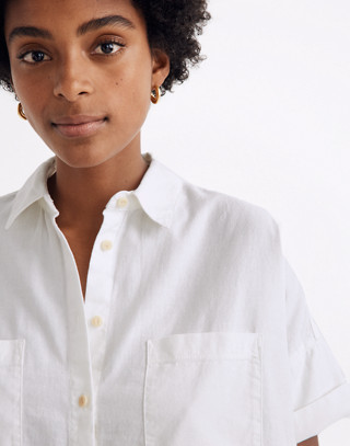 White Cotton Courier Shirt in pure white image 2