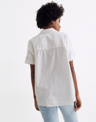 White Cotton Courier Shirt in pure white image 3