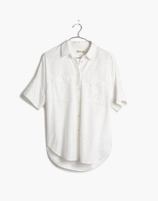 White Cotton Courier Shirt in pure white image 4