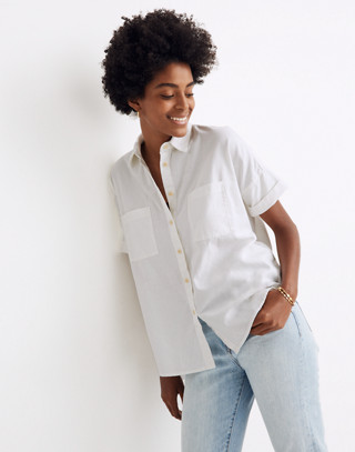 White Cotton Courier Shirt in pure white image 1