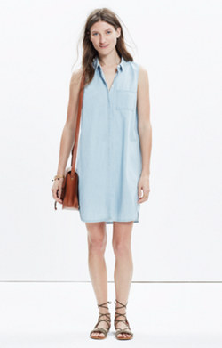 Chambray Sleeveless Shirtdress