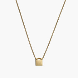 Engravable Brass Square Necklace