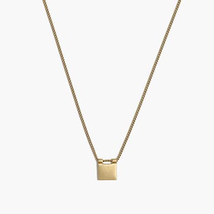 Engravable Brass Square Necklace