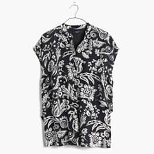 Silk Tiered Tunic Shirt in Folkcraft - DARK METAL